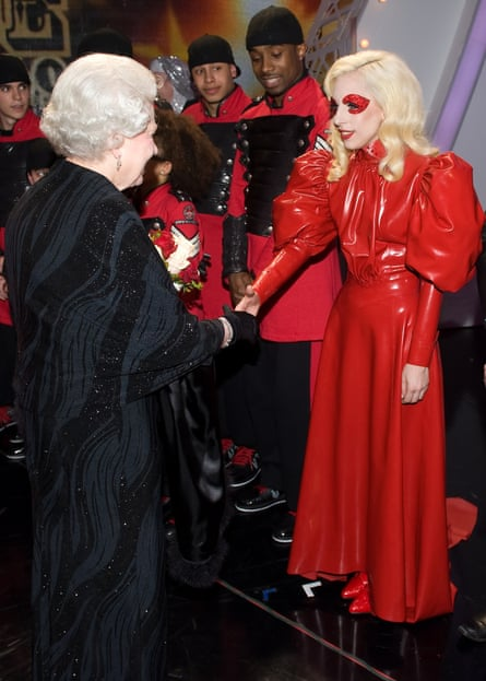 Queen Elizabeth II meets American singer Lady Gaga.