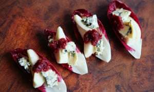 Umami in a canape … Chicory boats with pear, stilton and cranberry jam.