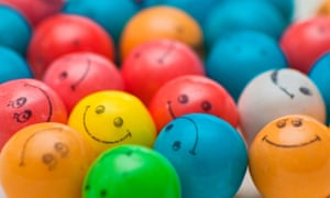 Coloured balls with smiley faces