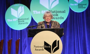 Ursula Le Guin receives her award at the 2014 National Book Awards on November 19 in New York City.