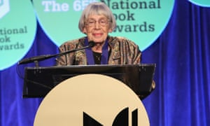 Ursula K Le Guin at the lectern at the National Book Awards.