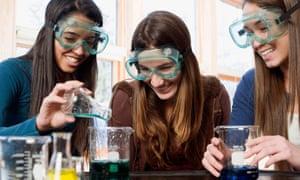 Stem girls study science
