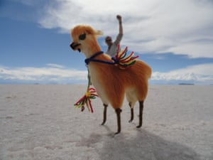 Not a real llama, but a classic tourist photo taken in Uyuni, Bolivia. The Salar de Uyuni are the world's largest salt flats