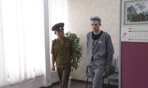 This image taken from video shows Matthew Miller in North Korea on 24 September. He told media he was being forced to dig in fields for eight hours a day.