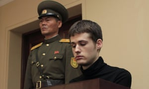 Matthew Miller during his trial in Pyongyang for entering the country illegally and trying to commit espionage. North Korea