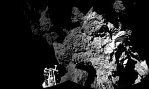 A combination photo using images taken by Philae released by the European Space Agency as it landed safely on the surface of comet 67P.