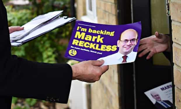 Mark Reckless leaflets at the door