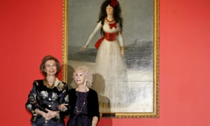 Queen Sofía of Spain, left, and Cayetana de Alba, the 18th Duchess of Alba, in front of Goya's portrait of her ancestor the 13th Duchess of Alba, 1795, at an exhibition in Madrid in 2012.