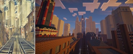 Christopher Wynne Nevinson, Soul of the Soulless City, 1920. Tate collection © Tate, and view of Tate Worlds: Soul of the Soulless City map in Minecraft.