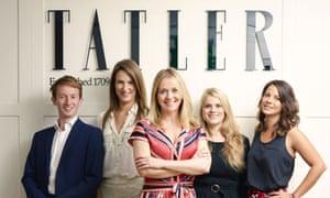 (L-R) Tatler's staff: Matthew Bell, Sophia Money-Coutts, Kate Reardon, Gavanndra Hodge, Tibbs Jenkins