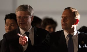 Canada Prime Minister Stephen Harper (left) has pledged $265m to the Green Climate Fund. Australian prime minister Tony Abbott (right) has ruled out pledging to it.