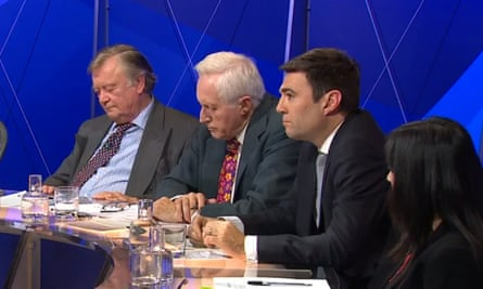 The Question Time panel with presenter David Dimbleby