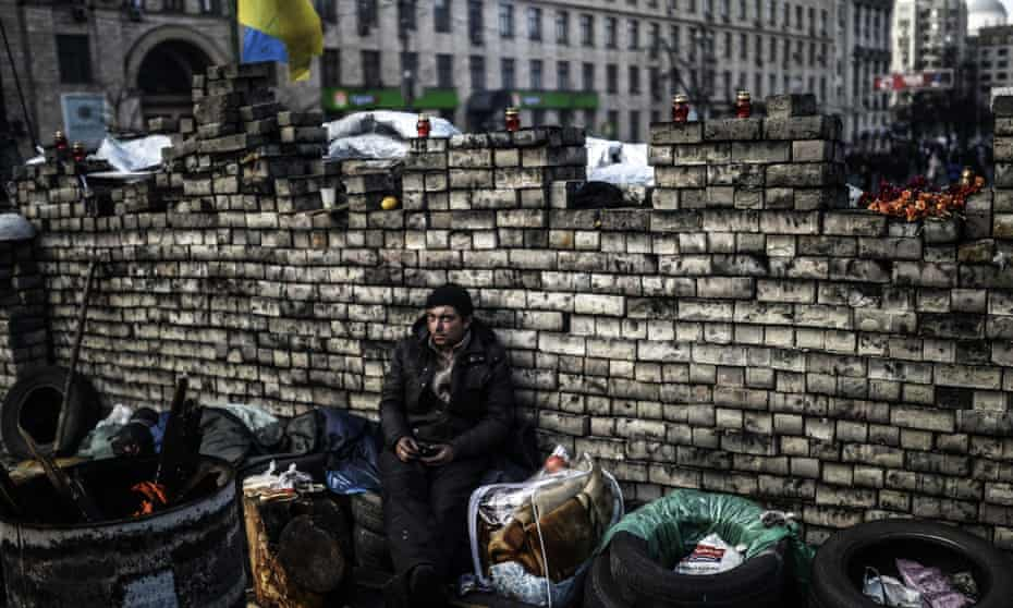 An anti-government protestor on Kiev's Independence Square in February. Ukraine
