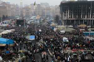 Pro-European demonstrators gather during a rally in Kiev's Independence Square. Ukraine