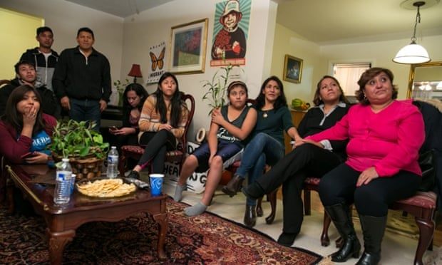 The Andrade and Vaca families at home.