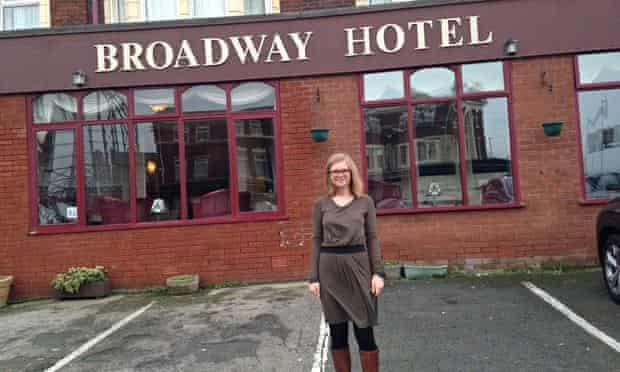 Helen Pidd outside the Broadway hotel in Blackpool