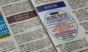 Detectives for hire in a Delhi newspaper's small ads column.  Delhi.  Photograph: Manan Vatsyayana/AFP/Getty Images