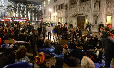 Occupy activists outside the supreme court in London
