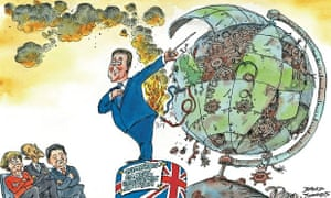 Cartoon showing David Cameron warning about threat to global economy