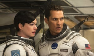 Anne Hathaway and Matthew McConaughey in Interstellar, which reflects contemporary environmental concerns.