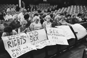 Striking female machinists from the Ford plant in Dagenham attend a women's conference on equal rights in industry in 1968.