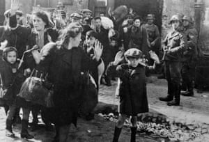 Families taken out by the force of their house by the Germans, in the ghetto of Warsaw, Poland.