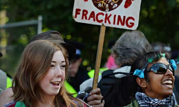 Protesters demonstrate against fracking in Balcombe, West Sussex, last year.