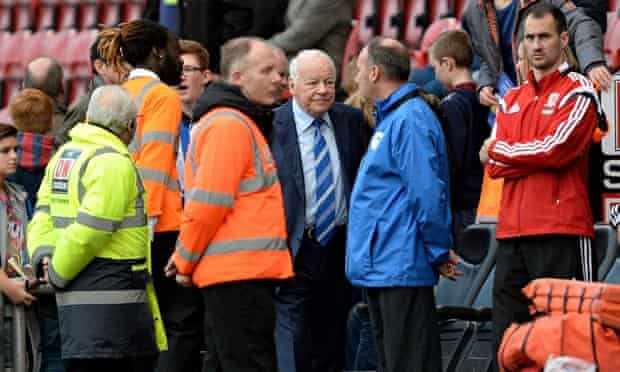 Wigan Athletic's owner Dave Whelan near the entrance to the players' tunnel