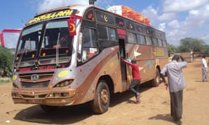 The bus that was attacked by gunmen is brought to the police station in Mandera town, north-eastern Kenya.