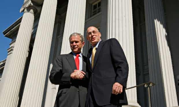 President Bush shakes hands with Treasury Secretary Henry Paulson in Washington, 2008