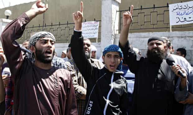 Islamist Salafi protest in Jordan