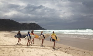 Surfing lesson at Byron Bay