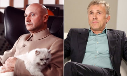 A lap fit for a cat … Donald Pleasance as Blofeld and Christoph Waltz, relaxing.
