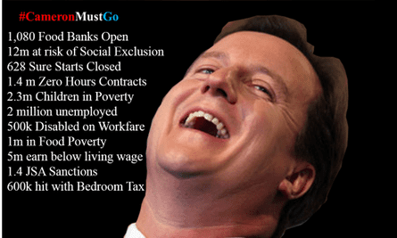Tweets challenging David Cameron's record as Prime Minister have been trending