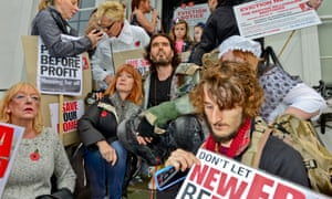 Russell Brand at the protest to save social housing at the New Era Estate in Hoxton.