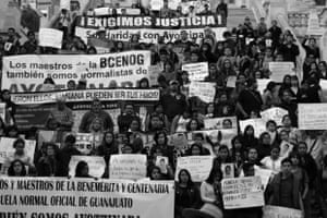 #ParoNacional20NovMx #TodosSomosAyotzinapa Miners, teachers, workers and students gather together at the Central Building of the University of Guanajuato to demand justice for the forty three missing students of Ayotzinapa, during the national strike Juan García/GuardianWitness