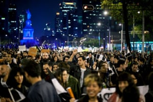 Thousands of people went to the streets to protest against violence, state corruption and the disappearance of the 43 students teachers