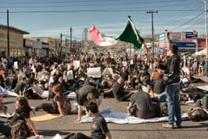 <strong>Solidaridad with Ayotzinapa </strong><br>Protesters on Av. Juárez, one of the main streets in Ensenada, México, during global action for Ayotzinapa, 20 Nov, 2014<br>