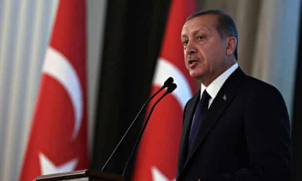 Recep Tayyip Erdogan speaking during a ceremony in August where he formally took over from predecess