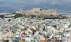 Athens, Greece: houses surrounding the acropolis hill.