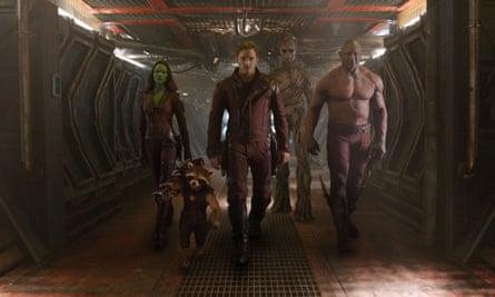 Zoe Saldana, Rocket Raccoon, Chris Pratt, Groot, Dave Bautista Guardians of the Galaxy