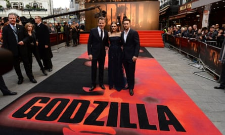 Bryan Cranston, Elizabeth Olsen and Aaron Taylor Johnson attend the European premiere of 'Godzilla' at the Odeon Leicester Square in London