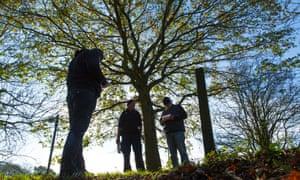Mental health patients orienteering at Pleasley Vale outdoor activity centre in Bolsover, Derbyshire.