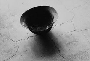 Shomei Tomatsu, Steel Helmet with Skull Bone Fused by Atomic Bomb, Nagasaki 1963