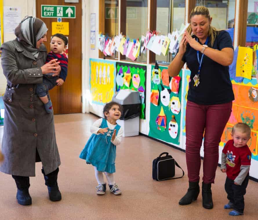 Pre-school age children play at Riverside community centre in Newcastle.