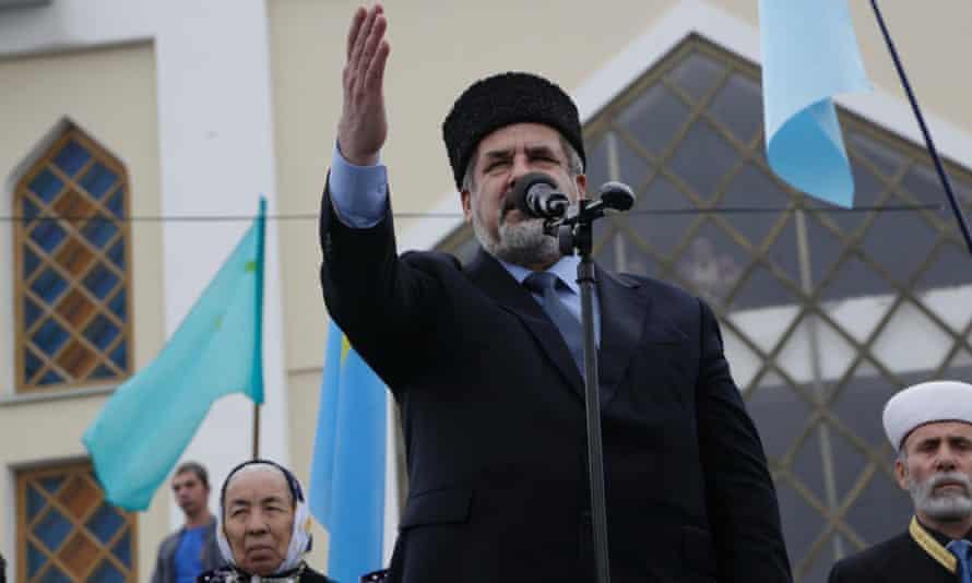 Crimean Tatar leader Refat Chubarov addresses the crowd during a rally in Simferopol. Ukraine