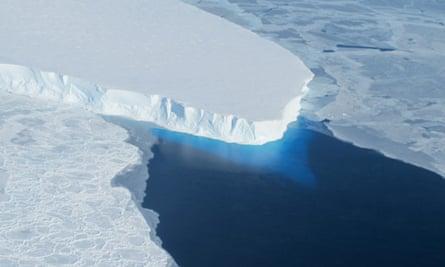 Thwaites Glacier in Western Antarctica.   A major ice sheet in western Antarctica