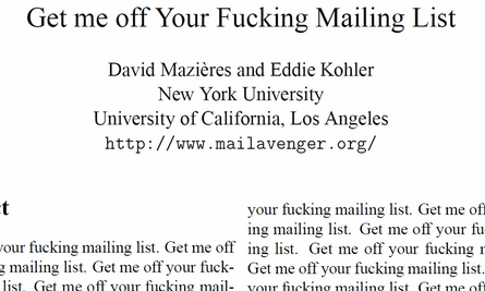 Get Me Off Your Fucking Mailing List research paper