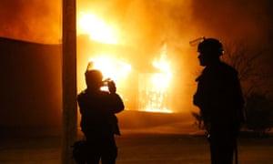 A building burns in Ferguson, Missouri