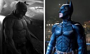 Composite of Ben Affleck and Christian Bale as Batman
